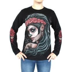Sugar skull girl - triko dlouhý rukáv